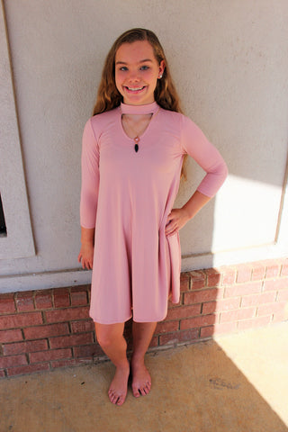Tween Dusty Pink V-Cut Out Tunic Dress