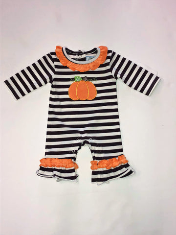 Three Sisters Girls' Pumpkin Applique Romper