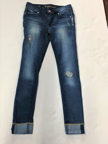 Tween Dark Wash Denim Skinny Jeans with Rips and Metallic Stitching