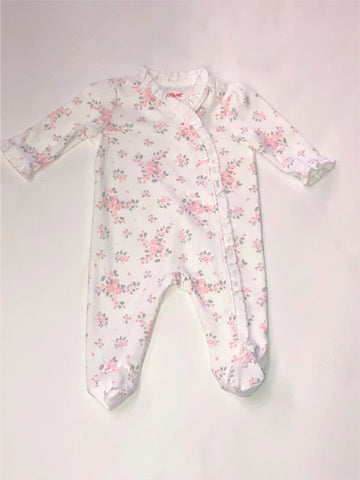 Girls' White Floral Footie Sleeper with Wrap Ruffle