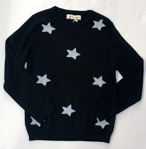Doe A Dear Black Knit Silver Star Sweater