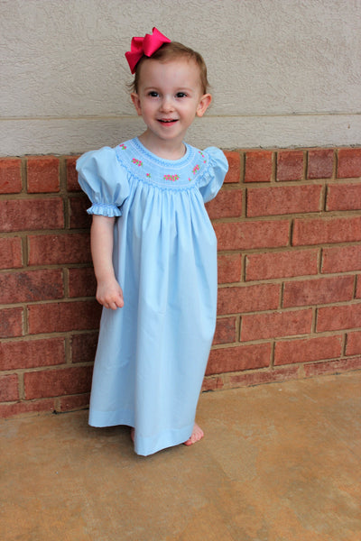 Girls' Light Blue Smocked Bishop Dress