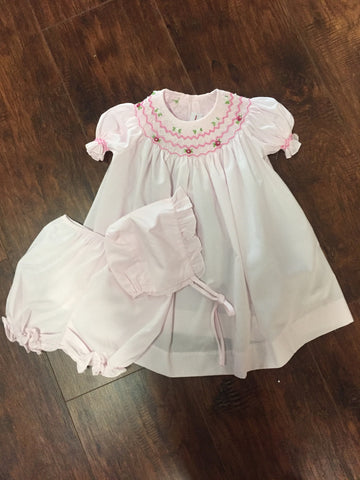 Pink Smocked Bishop with Bonnet and Bloomers