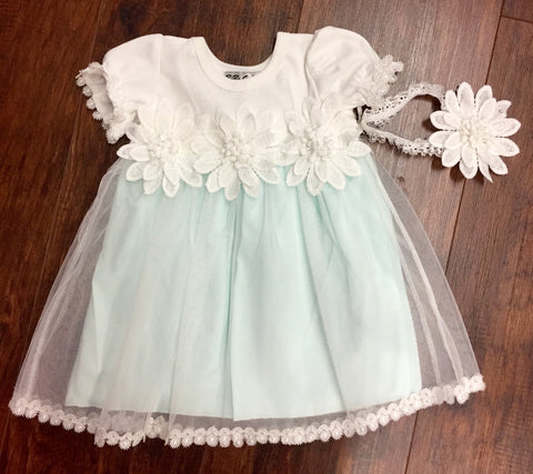 Mint  and Ivory Lace Embellished Dress with Ivory Headband