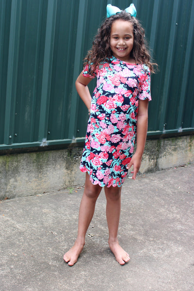 Tween Floral Navy Short Sleeve Dress with Scalloped Hem