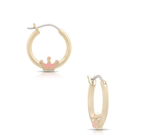 Lily Nily Pink Crown Hoop Earrings