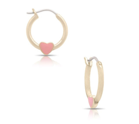 Lily Nily Pink Heart Hoop Earrings