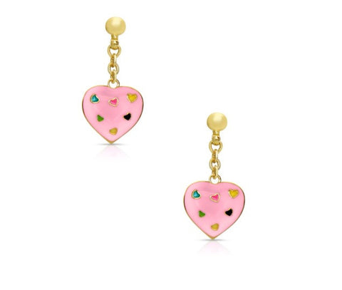 Lily Nily Pink Puffed Heart Dangle Earrings
