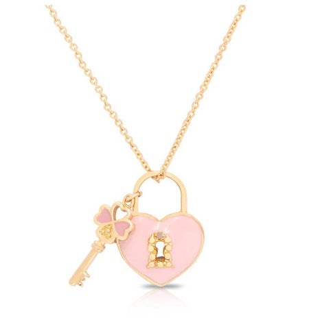 Lily Nily Pink and Purple Lock and Key Pendant Necklace