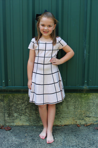 Tween Blush Pink with Black Plaid Short Sleeve Sweater Dress