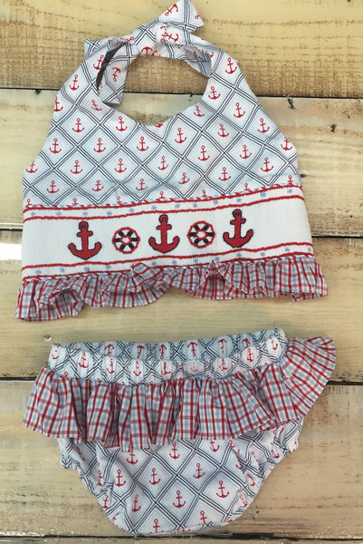 Three Sisters Anchor Smocked Two Piece Swimsuit