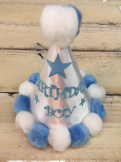 Birthday Boy Hat with Blue and White Pop Pom Balls