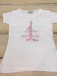White and Pink Happy First Birthday Tee