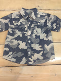 Kapital K Boys Blue Camo Print Short Sleeve Button-Down Shirt