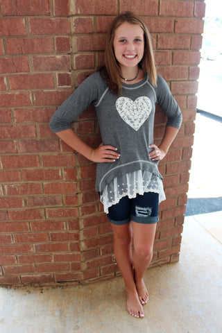 Tween Charcoal Lace Heart Shirt with Lace Trim