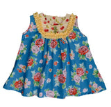 Persnickety Sara Top- Blue Floral Print with Yellow Trim and contrasting Cherry Print