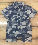 Kapital K Boys Blue Camo Print Button-Up Romper