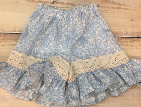 Persnickety Mae Short- Light Blue Print