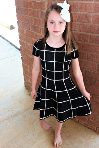 Tween Black with White Plaid Short Sleeve Sweater Dress