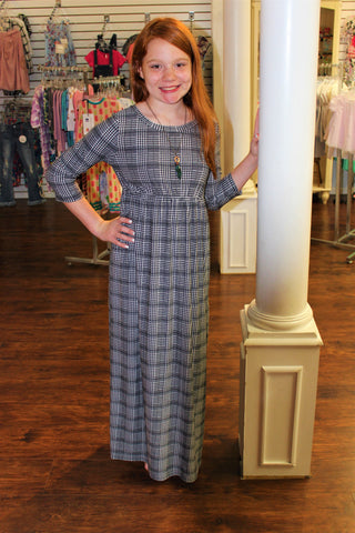 Tween Black and Grey Houndstooth Maxi