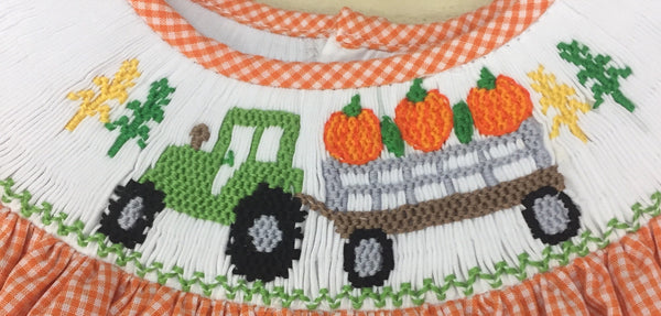 Smocked Tractor and Pumpkin Dress