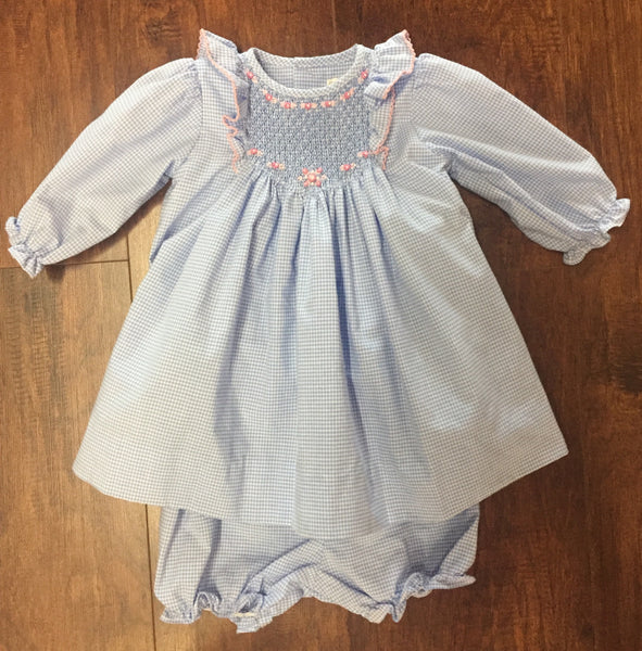 Girls' Light Blue Gingham Smocked Long Sleeve Dress