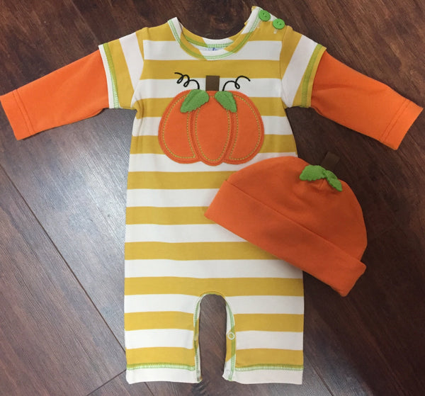 Boys' Pumpkin Applique Romper with Hat