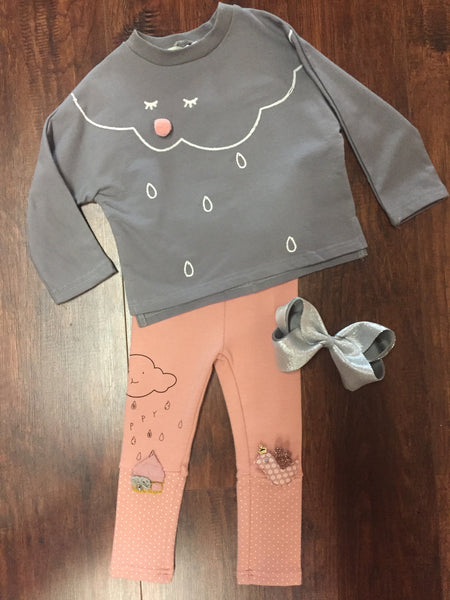 Little Who Grey Cloud Top and Mauve Happy Cloud Leggings