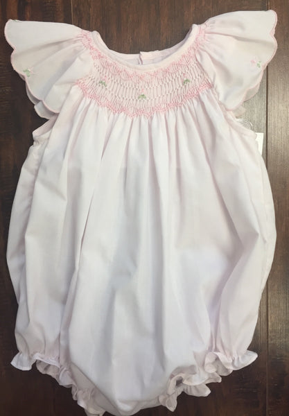 Girls' Light Pink Smocked Bishop Angel Sleeve Bubble