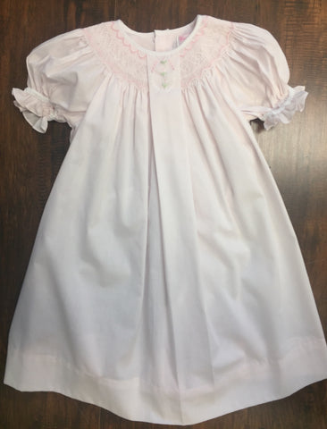 Girls' Baby Pink Smocked Bishop Gown