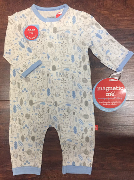 Magnificent Baby Magnetic Blue Into the Woods Coverall