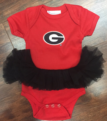 Georgia Red Onesie with Black Tutu
