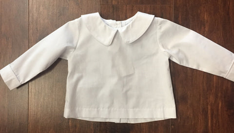 Banana Split White Peter Pan Collar Boys Long Sleeve Shirt