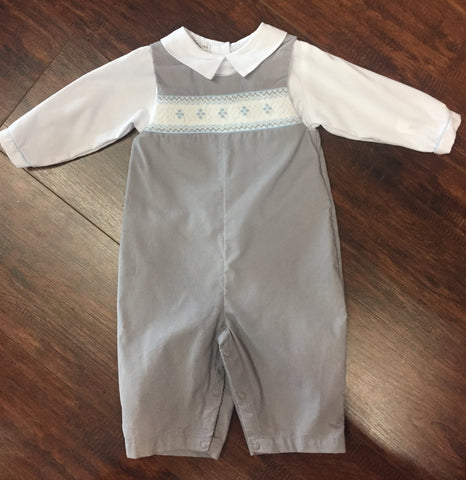 Boys' Grey Smocked Corduroy Longall Set