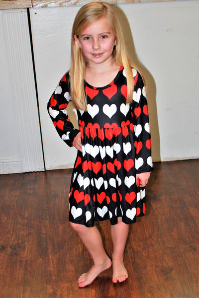 Girls' Black and Red Heart Dress