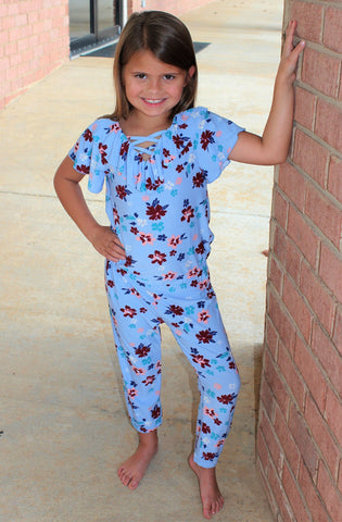 Tween Periwinkle Floral Jumpsuit with Ruffle