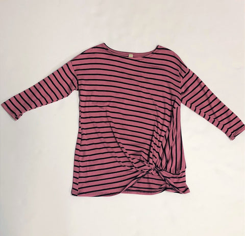 Tween Mauve & Black Striped Rwisted Top