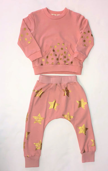 Doe A Dear Blush Pink Polka Dot & Stars Jogger Suit