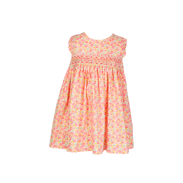 Question Everything Pink Floral Smocked Sleeveless Dress