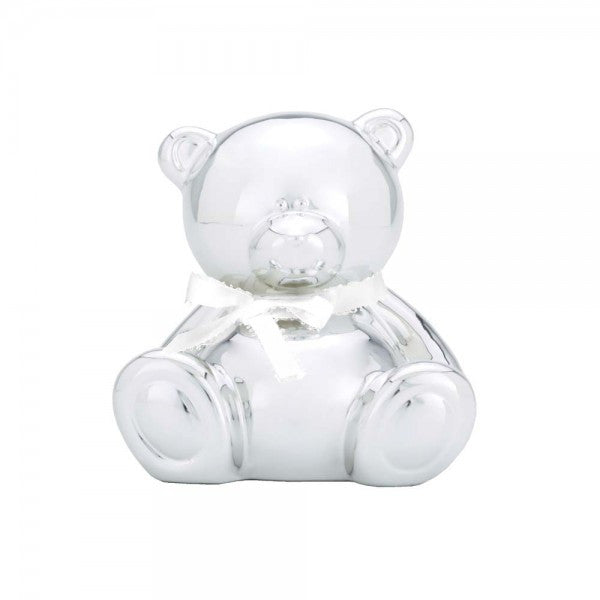 Ceramic Teddy Bear Bank with Satin Bow