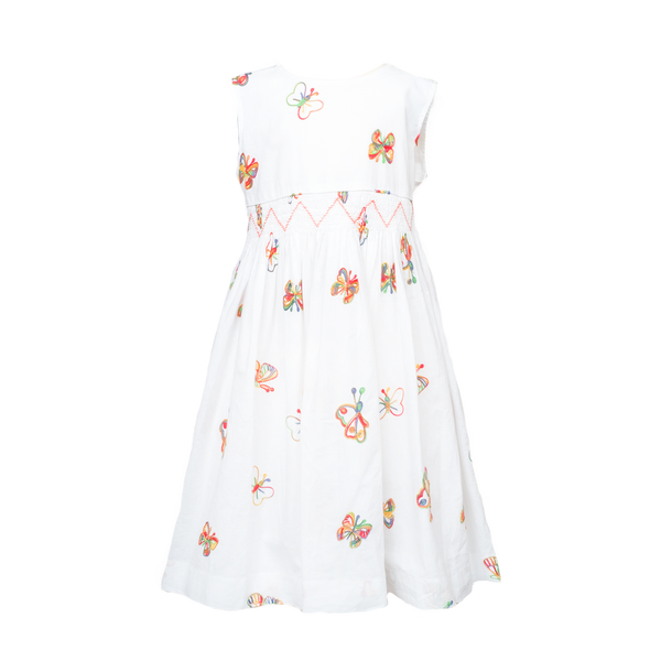Question Everything White Embroidered Butterflies Smocked Dress