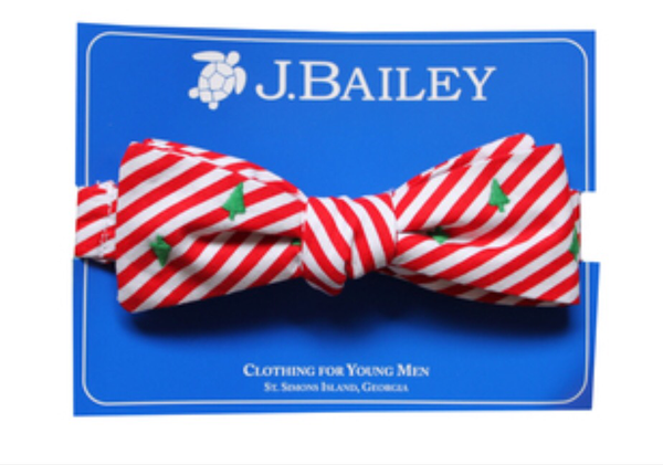 J. Bailey Red Striped Bow-Tie with Christmas Trees (Non-clip)
