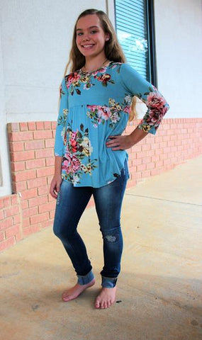 Tween Dusty Aqua Floral Baby Doll Tunic