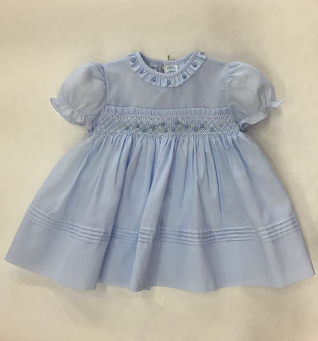 Feltman Bros Blue Smocked Dress with Hand Embroidered Flowers and Bloomers