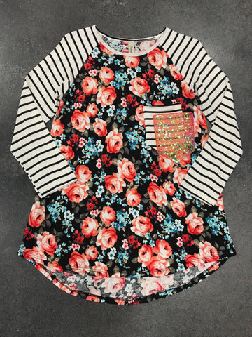 Tween Black Floral Double Pocket Top