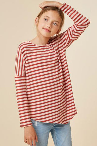 Tween Burnt Orange Striped Long Sleeve Dolman Top