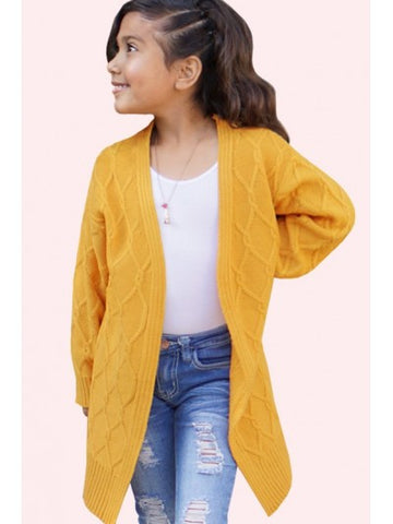 Tween Chunky Cable Knit Yellow Cardigan