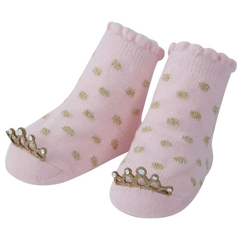 Mud Pie Pink with Gold Polka Dots Crown Socks
