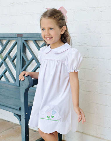 Beaufort Bonnet White Daphne Dress with Bunny Applique