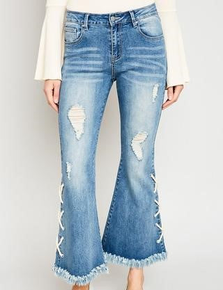 Tween Lace Up Distressed Flare Jeans